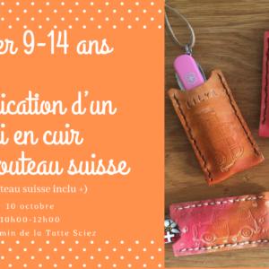 10 octobre 10h00-12h00 : Atelier Cuir