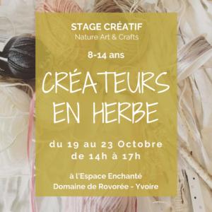 Stage Vacances : 19 au 23 octobre