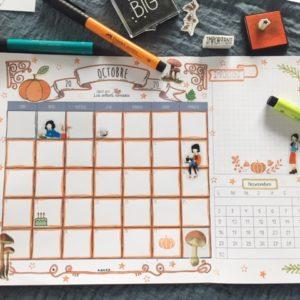 Planner : Calendriers de Octobre à Décembre 2020