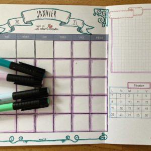 Planner : Pack – planning mensuel & semainiers – Janvier à Mars 2021